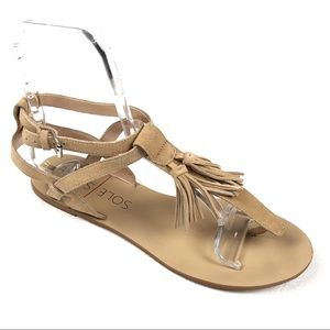 SOLE SOCIETY Pandora sandals 9.5 tan fringe tassel